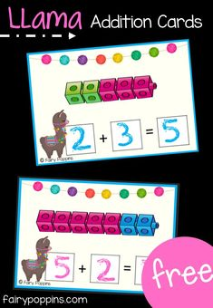 Part Part Whole Activities Llama addition and subtraction activities using number lines. Includes math centers and worksheets for numbers up to ~Fairy Poppins Numbers Kindergarten, Kindergarten Math Activities, Preschool Math, Math Classroom, Fun Math, Family Activities, Math Math, Addition Games For Kindergarten, Math Fractions