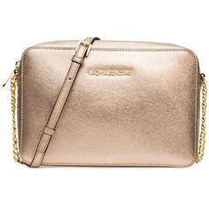 MICHAEL Michael Kors Jet Set Travel Large Crossbody Bag (260 CAD) ❤ liked on Polyvore featuring bags, handbags, shoulder bags, pale gold, crossbody handbags, leather purse, leather crossbody handbags, leather cross body handbags and crossbody purse