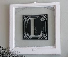 Monogrammed Antique frame.  Used by cutting out the monogram letter using the Cricut