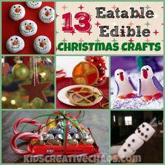 13 Fun, Easy, Eatable, Edible, Christmas Art and Craft Activities for Kids #KidsCreativeChaos #EdibleCrafts