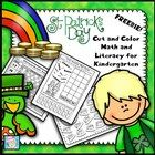 FREE!  St. Patrick\'s Day Cut and Color Math and Literacy for Kindergarten