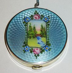 Gorgeous Sterling Silver & Guilloche Enamel Scenic Compact with chain and finger ring. 1930's.