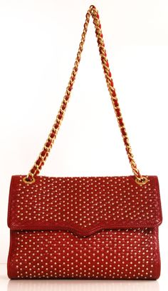 "ebecca Minkoff, the Affair Studded Shoulder Bag is a piece truly destined for greatness. Nothing says ""classic"" like a simple red, but when it's punctuated by row upon row of bold gold domes, it takes on a completely new persona. While not quite rocker-chic, it's cautiously edgy – not biker babe, but leaning slightly in that direction. Its timeless silhouette and luxurious strap give it a more conservative appeal in the end."