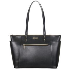 """Kenneth Cole Reaction Faux Leather 15.0"""" Computer Tote ($180) ❤ liked on Polyvore featuring bags, handbags, tote bags, black, kenneth cole tote, faux leather tote bag, kenneth cole tote bag, vegan leather tote bag and tote handbags"""
