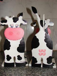 artesanias kerensa: portarrollos de cocina flor--vaca-gallina