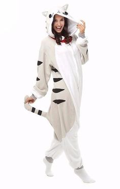 ac1e62aaa4 Grey Cat PJ Get yourself into one of these comfy plush onesies and Purrr.
