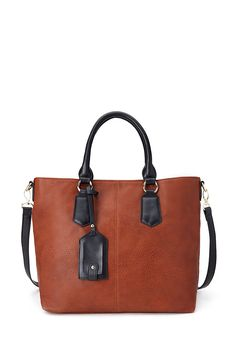 Two-Tone Faux Leather Tote