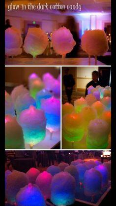 Put a glow stick under cotton candy