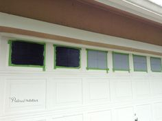 Great posting on how to create faux carriage house door windows on your plain garage door.