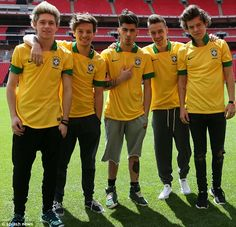 Brazil: Harry chose his favourite ripped jeans for the kick about