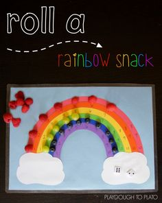 Super fun number and beginning addition game for kids! {Plus it's a sneaky way to get kids eating healthy food.} Roll a rainbow snack.