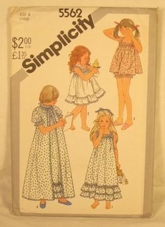 #Girls #Nightgown #Pattern #Vintage 1980s Robe Baby Doll SIMPLICITY 5562 Size 6 UC #Sewing #forsale