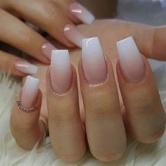 Nails square White pink ombre acrylic fingernails - Manicure - French tip - Square shaped lon. White pink ombre acrylic fingernails - Manicure - French tip - Square shaped long nails - cute summer fall spring fingernails - gel nails - shellac - Short Square Acrylic Nails, Best Acrylic Nails, Matte Nails, Coffin Ombre Nails, Ombre French Nails, French Fade Nails, Gel Ombre Nails, Acrylic Nail Shapes, Acrylic Nails Coffin Short