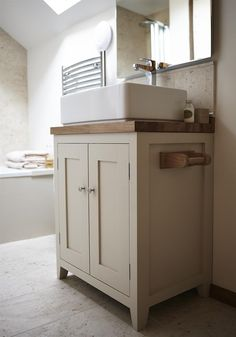 An inspirational image from Farrow and Ball. Handmade bespoke bathroom cabinet by Fernio Furniture, finished in Off-White. Bathroom Shelves For Towels, Kitchen Cabinets In Bathroom, Small Bathroom Layout, White Bathroom, Bathroom Ideas, Cloakroom Ideas, Bathroom Images, Bathroom Design Inspiration, Bathroom Interior Design