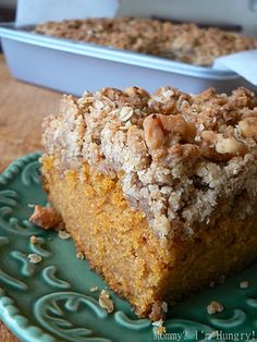 Pumpkin Crumb Cake-- CAKE: 1 3⁄4 cups all-purpose flour, 1 1⁄2 t pumpkin pie spice, 1t baking soda, 1 t baking powder, 3⁄4 t salt, 1⁄2 c unsalted butter, 1 1⁄4 c sugar, 3 large eggs, 1 c canned pureed pumpkin,1 t vanilla extract, 1⁄3 c milk, 3⁄4 c chopped walnuts TOPPING: 2⁄3 c plus 2 T rolled oats, 1⁄2 c flour, 1⁄2 c packed light brown sugar, 1⁄2 t cinnamon, 6 T unsalted butter