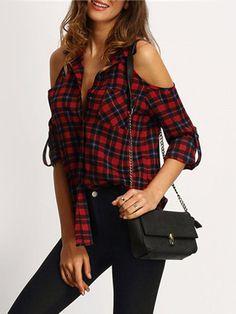 women's fashion Plaid Cold Shoulder Long Sleeve Shirts