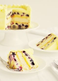 Sweetapolita — Triple-Lemon Blueberry Layer Cake... I made this today with the homemade lemon curd and my favorite lemon cream cheese frosting. Delicious!