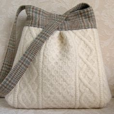 Ivory Cable Knit and Plaid Wool BELLA Purse, Upcycled Wool Handbag via Etsy