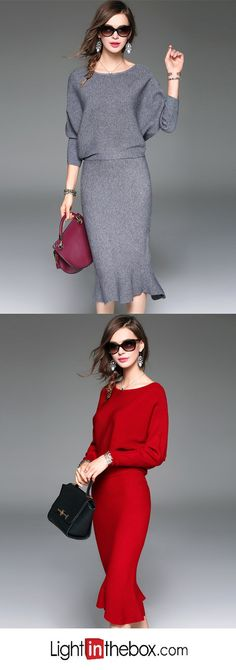 Women's Going out Casual/Daily Simple Street chic Sophisticated Fall Winter T-shirt Skirt Suits