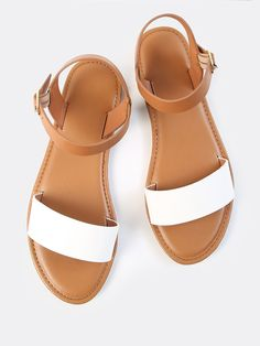 b808824b3 Shop Two Tone PU Open Toe Sandals online. SHEIN offers Two Tone PU Open Toe  Sandals   more to fit your fashionable needs.