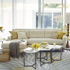 yellow & gray living room, casual color