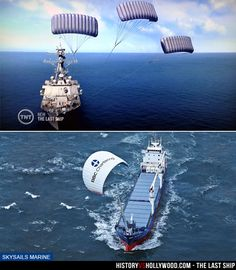 The Last Ship TV show's use of parachute sails is a real technology, despite being exaggerated for the show starring Eric Dane and Rhona Mitra.