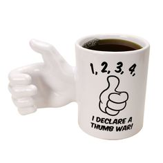 The Thumb War Mug from Big Mouth Toys is an awesome gift for anyone who loves the classic game of thumb wrestling. This ceramic mug holds over 12 ounces of Best Coffee Mugs, Unique Coffee Mugs, I Love Coffee, Funny Coffee Mugs, Funny Mugs, Coffee Quotes, Tea Mugs, My Coffee, Cool Coffee Cups