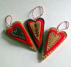Felt Gingerbread Heart Christmas Tree by MollyCoddlesKitchen, £4.00