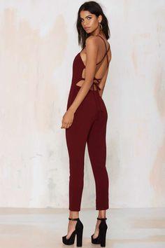 Raquel Cross-Back Jumpsuit - Wine   Shop Clothes at Nasty Gal!