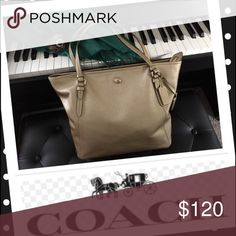 "🔴💯COACH PEYTON GOLD HANDBAG Excellent condition. No signs of use exterior. Interior, there is only a very small ink mark other than that it is in excellent condition. Smoke/pet free home. 16""Lx11""Hx4""W Coach Bags Totes"