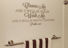 Bathroom Decor, Cleanse Me Wash Me, Vinyl Wall Decal, Bible Verse, Bathroom Sticker, Home Decor
