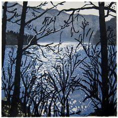 Eva Pietzcker. Crescent Lake. 2011. Japanese woodblock print image (moku hanga)