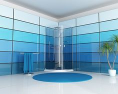 Recent findings suggest that having blue walls in your bathroom helps increase the value of your home. Need more convincing to kickstart your . Glass Panel Wall, Glass Panels, Glass Door, Panel Walls, Back Painted Glass, Glass Installation, Bathroom Pictures, Bathroom Ideas, Bathroom Modern