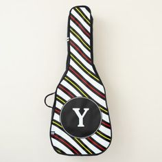 Initial  Black Yellow & Red Wavy Lines Pattern Guitar Case - initial gift idea style unique special diy