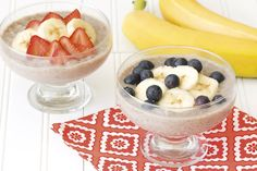 Hungry Girl's Healthy Bananarama Pudding Recipe;Chia-fy It: For an even thicker consistency with a serious nutritious boost, stir 2 tsp. chia seeds into a serving of the pudding; refrigerate for at least for 3 hours. (120 calories, SmartPoints® value 2*.) Fantastic as a snack or dessert.