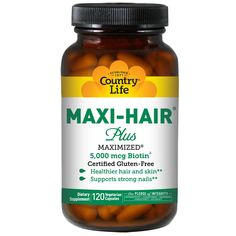 Country Life, Maxi Hair Plus, 120 Veggie Caps