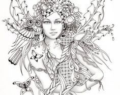 coloring page Adult fairy