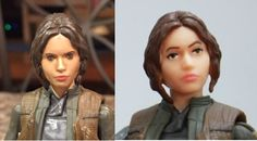 Jyn Erso Star Wars Rogue One Black Series 6 inch custom repaint action figure before and after