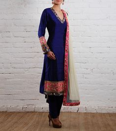 Blue Embroidered Raw Silk Suit