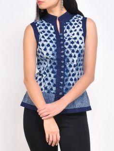 Indigo Cotton Waist Coat