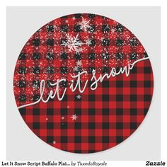Let It Snow, Let It Be, Christmas Holidays, Merry Christmas, Gift Wrapping Paper, Round Stickers, Buffalo Plaid, Custom Stickers, Holiday Gifts