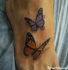 Realistic 3D butterflies tattoo on foot