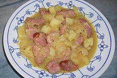 Sauerkraut - Kasseler - Kartoffel - Pfanne mit Ananas