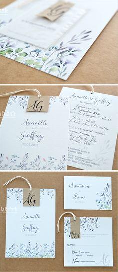 Faire-part Mariage Fioleta Wedding invitation Fioleta #weddinginvitation #papeterie #fairepart #mariage #kraft #twine #flowers
