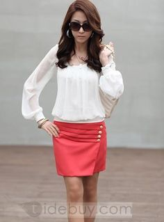 Fashionable Split Joint Long Sleeve Blouse : Tidebuy.com