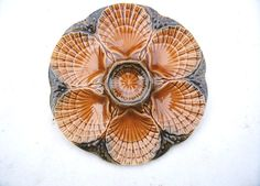 Vintage French Majolica OYSTER PLATE SARREGUEMINES by BRITALIS, $35.00