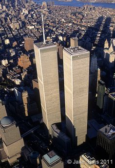 Looking Down, Aerial View,Manhattan, New York City, New York, USA,Twin Towers, World Trade Center, designed by Minoru Yamasaki, International Style II | Flickr - Photo Sharing!