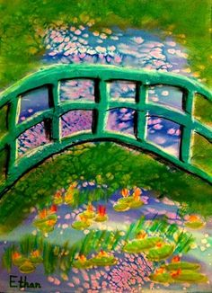 """Good art idea! Inspired by """"Claude Monet's Japanese Bridge"""", a 2nd grader named Ethan painted this."""