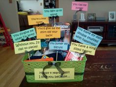 Gift Box Of Why U Love Him Or Her For 2yrs Anniversary Filled With Stuff Gifts Pinterest And Cute