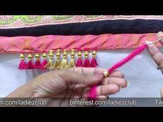 silk saree kuchu in kannada/saree tassels/saree kuchu using gold beads - YouTube